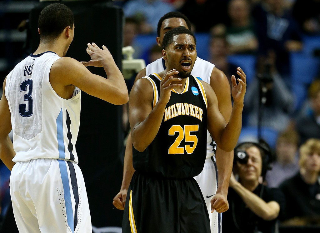 . BUFFALO, NY - MARCH 20:  Steve McWhorter #25 of the Milwaukee Panthers reacts against the Villanova Wildcats during the second round of the 2014 NCAA Men\'s Basketball Tournament at the First Niagara Center on March 20, 2014 in Buffalo, New York.  (Photo by Elsa/Getty Images)