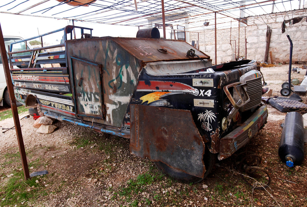 . A homemade military vehicle called Sham 1 is seen in Khan al-Assal area November 10, 2012. Picture taken November 10, 2012. REUTERS/Zain Karam
