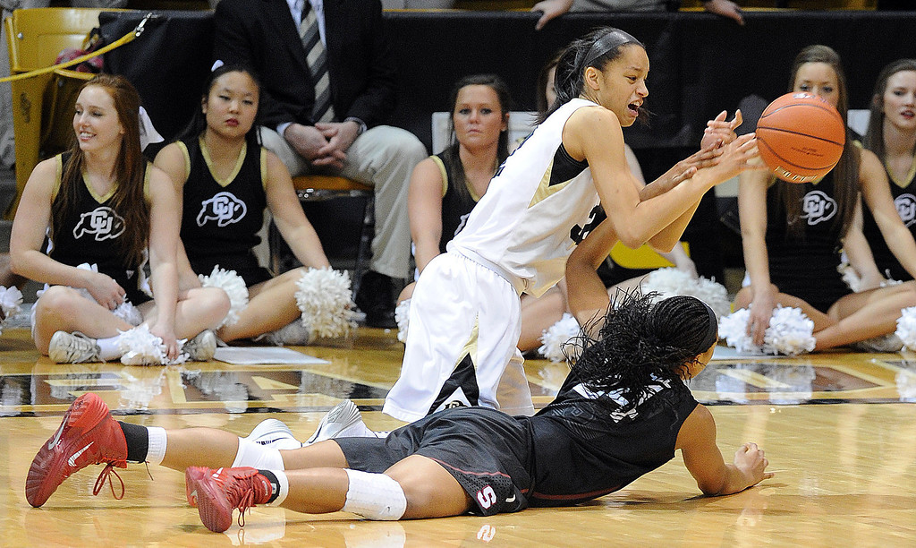 . Arielle Roberson of CU passes out from the defense of Erica McCall of Stanford during the second half of the January 12, 2014 game in Boulder. Cliff Grassmick/Daily Camera