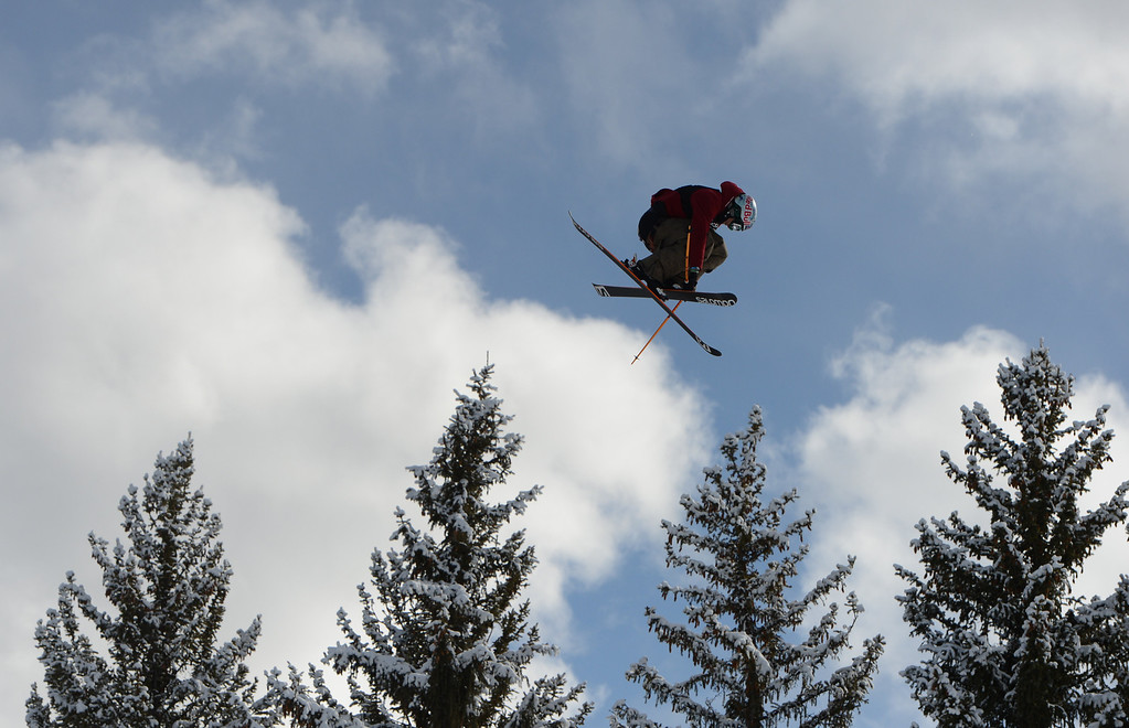 . ASPEN, CO. - JANUARY 27: Bobby Brown flies high during the Ski Slopestyle Men\'s Final, January 27, 2013. The 2013 Winter X Games at Buttermilk Mountain in Aspen. (Photo By RJ Sangosti / The Denver Post)
