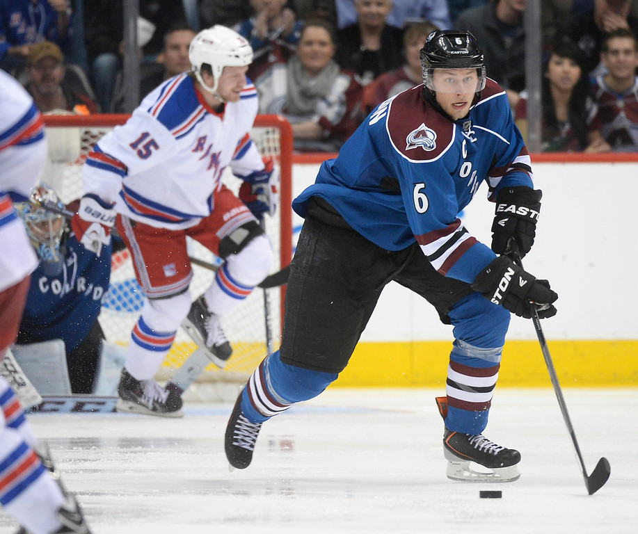 . Colorado defenseman Erik Johnson (6) cleared the puck in the third period.  (Photo by Karl Gehring/The Denver Post)