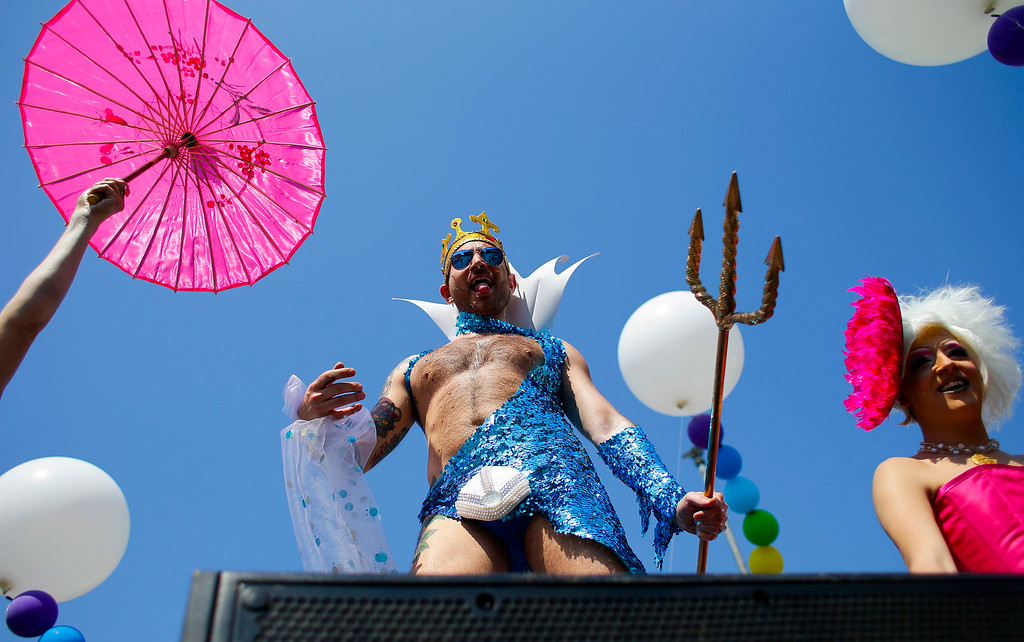 . A dancer performs during the annual gay pride parade in downtown Rome June 15, 2013. REUTERS/Max Rossi