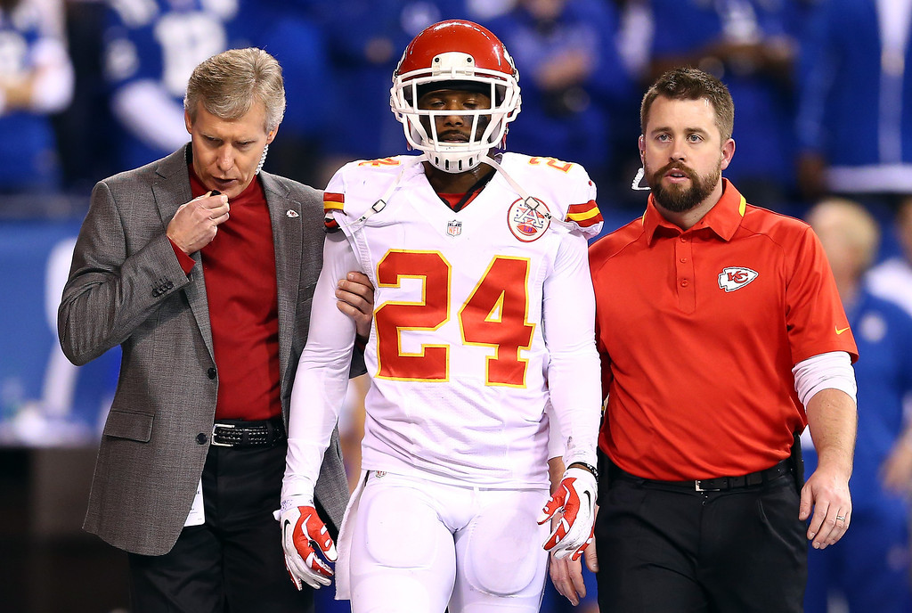 . INDIANAPOLIS, IN - JANUARY 04: Cornerback Brandon Flowers #24 of the Kansas City Chiefs leaves the field with an injury against the Indianapolis Colts during a Wild Card Playoff game at Lucas Oil Stadium on January 4, 2014 in Indianapolis, Indiana.  (Photo by Andy Lyons/Getty Images)
