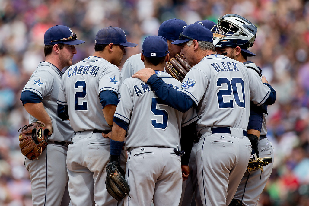 . Manager Bud Black #20 huddles on the mound with his team to relay instruction during the fourth inning against the Colorado Rockies at Coors Field on May 18, 2014 in Denver, Colorado. The Rockies defeated the Padres 8-6 in 10 innings. (Photo by Justin Edmonds/Getty Images)