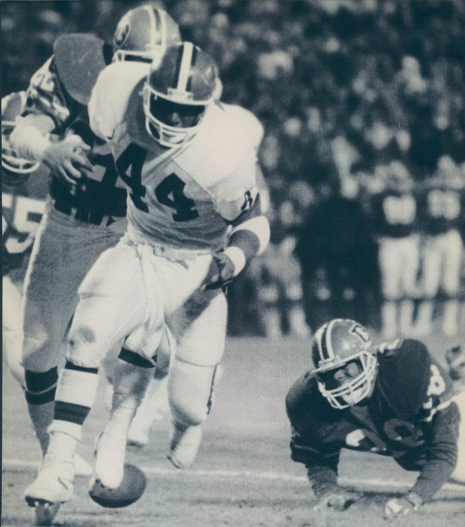 . This game is best remembered for The Fumble when Browns running back Earnest Byner fumbled at the Broncos\' 2-yard line with 1:05 left. Denver held on to win the game 38-33.   Earnest Byner of the Cleveland Browns runs with Jeremiah Castille in pursuit. Credit: AP