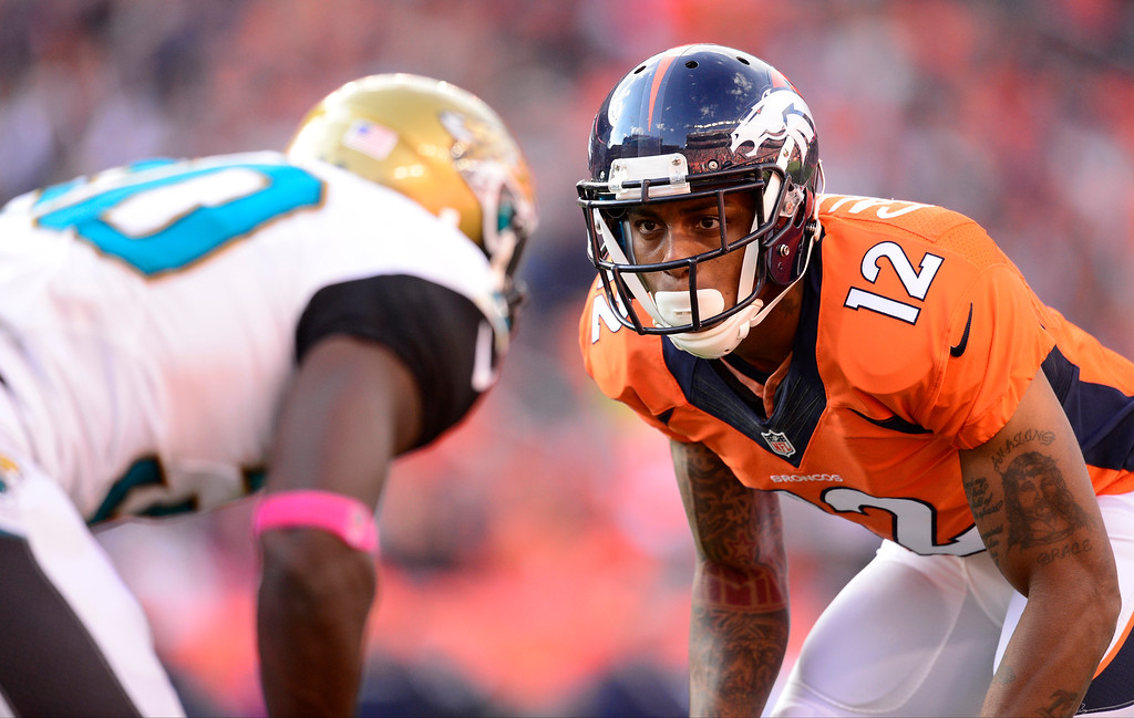 . Denver Broncos wide receiver Andre Caldwell (12) at the line in the fourth quarter.   (Photo by AAron Ontiveroz/The Denver Post)