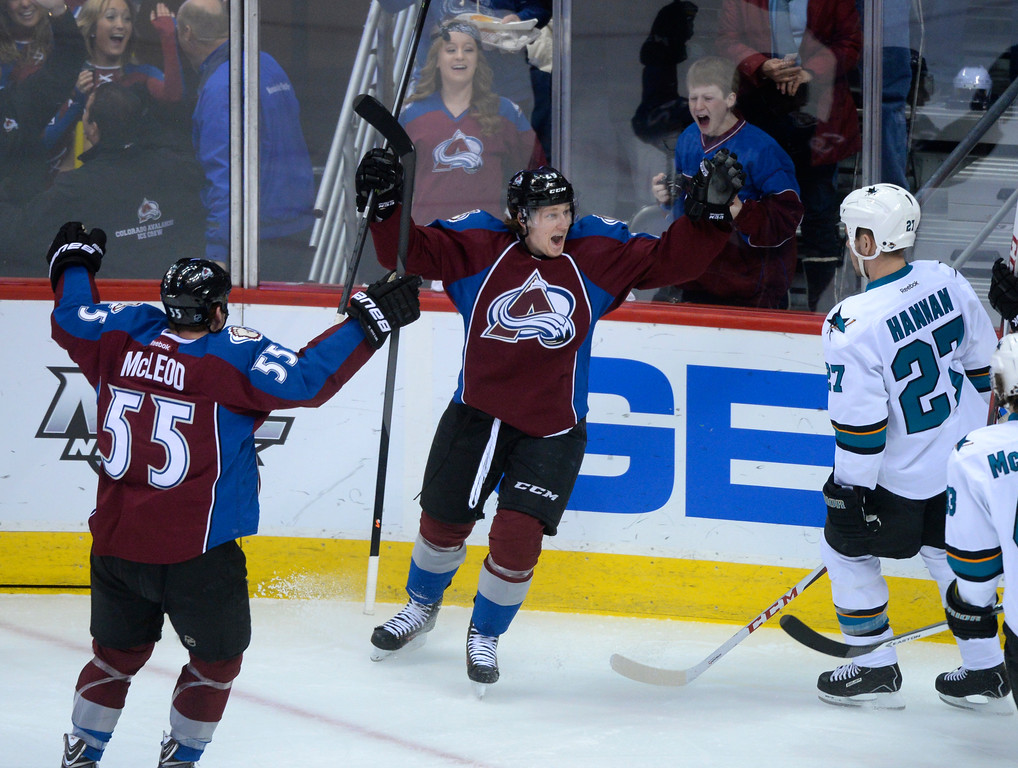. DENVER, CO. - JANUARY 04:  Colorado center Nathan MacKinnon (29) celebrated a goal in the second period. The Colorado Avalanche hosted the San Jose Sharks at the Pepsi Center Saturday afternoon, January 4, 2014. Photo By Karl Gehring/The Denver Post