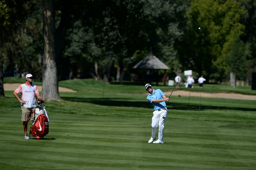. CHERRY HILLS VILLAGE, CO. - SEPTEMBER 03:  Russell Henley, on his approach shot to the 17th green during the FedExCup BMW Championship Pro-Am at the Cherry Hills Country Club Wednesday, September 03, 2014. (Photo By Andy Cross / The Denver Post)