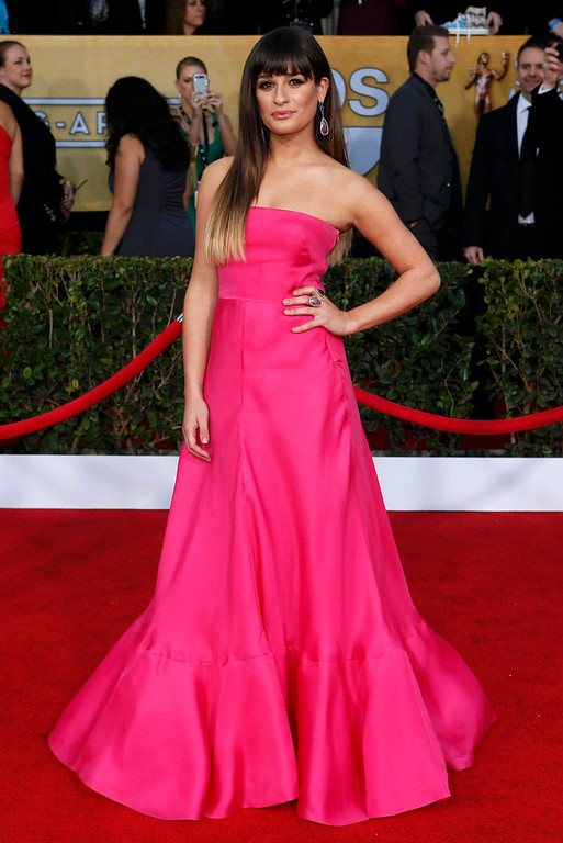 ". Actress Lea Michele of the TV series ""Glee\"" arrives at the 19th annual Screen Actors Guild Awards in Los Angeles, California January 27, 2013.  REUTERS/Adrees Latif"