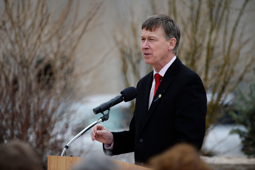. Colorado Governor, John Hickenlooper, speaks at the Colorado Department of Corrections Fallen Officer Memorial honoring his friend and executive director of the DOC, Tom Clements at the Territorial Correctional Facility park Saturday morning, March 15, 2014.  (Photo By Andy Cross / The Denver Post)