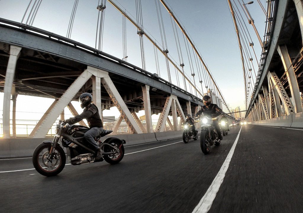 . Harley-Davidson riders reveal Project LiveWire, the first electric Harley-Davidson motorcycle during a special ride across the iconic Manhattan Bridge on June 23, 2014 in New York City.  (Photo by Neilson Barnard/Getty Images)