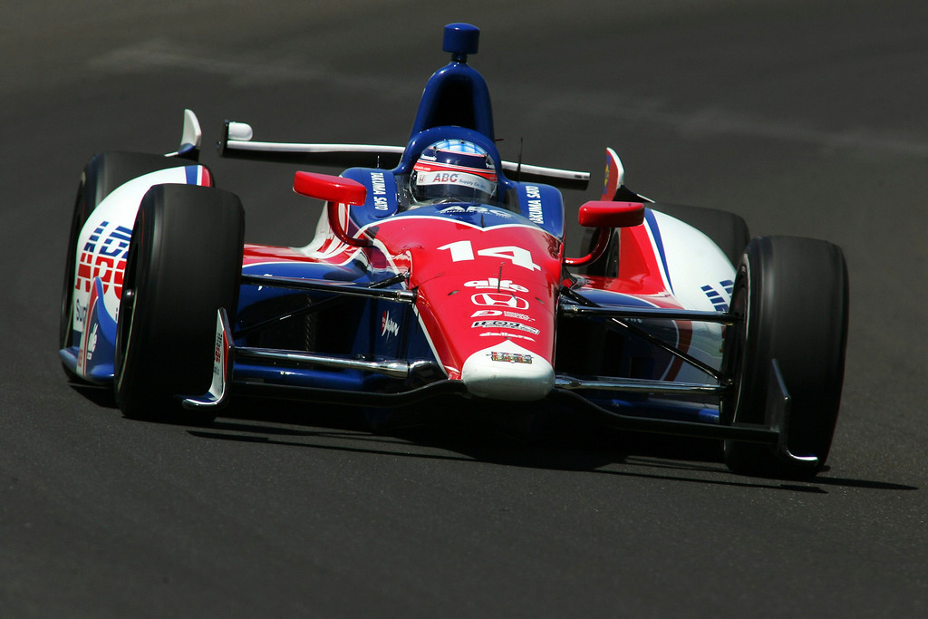 . A.J. Foyt Enterprises driver Takuma Sato of Japan drives his car on the track during a practice session at the Indianapolis Motor Speedway in Indianapolis, Indiana May 15, 2013. The 97th running of the Indianapolis 500 is scheduled for May 26.  REUTERS/Pat Cocciadiferro