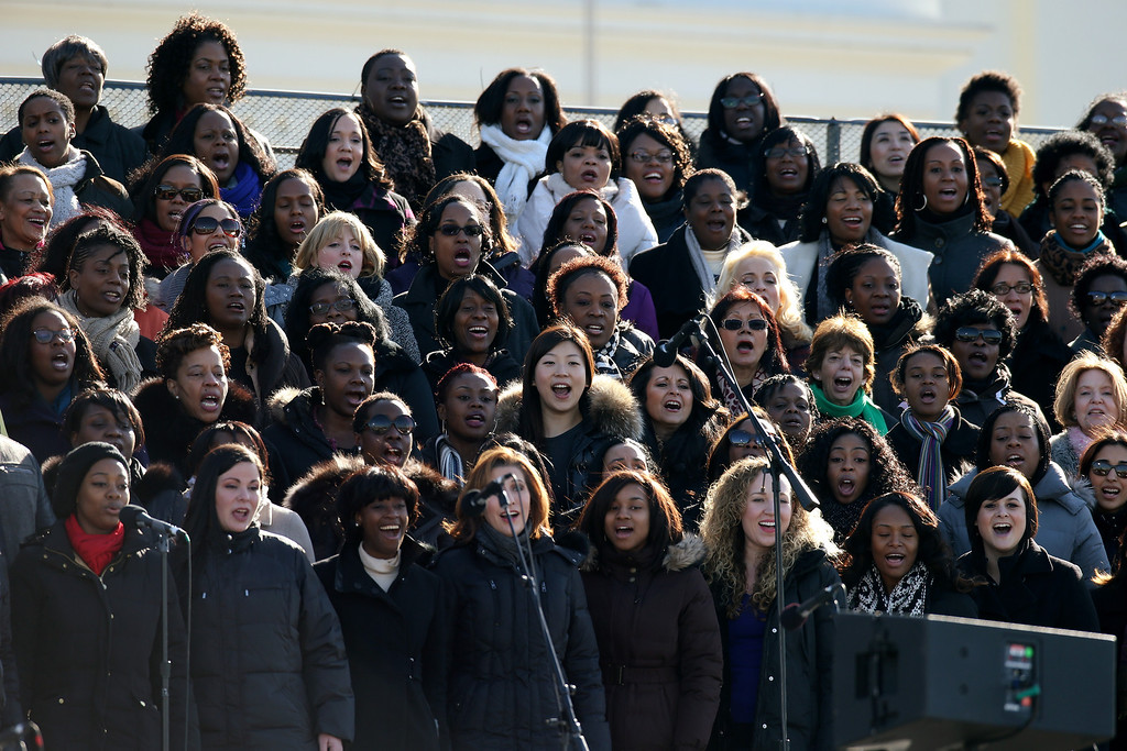 . A chorus rehearses at the U.S. Capitol building as Washington prepares for U.S. President Barack Obama\'s second inauguration on January 20, 2013 in Washington, DC. Both Obama and U.S. Vice President Joe Biden will be officially sworn in today with a public ceremony for the President taking place on January 21.  (Photo by John Moore/Getty Images)
