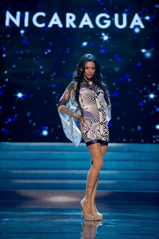 . Miss Nicaragua 2012, Farah Eslaquit, rehearses for the 2012 Miss Universe Presentation Show in Las Vegas, Nevada, December 13, 2012.  The Miss Universe 2012 pageant will be held on December 19, 2012 at the Planet Hollywood Resort and Casino in Las Vegas. REUTERS/Darren Decker/Miss Universe Organization L.P/Handout