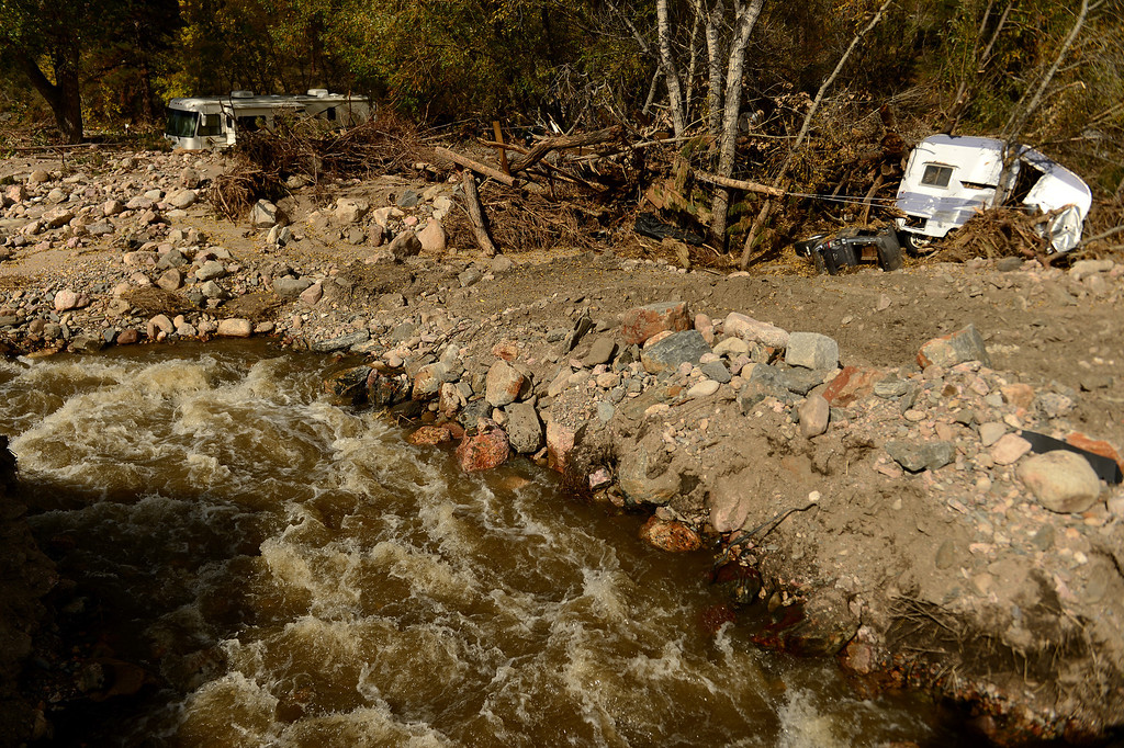 . The damage is still quite extensive in downtown Drake, Co on October 16, 2013. (Photo By Helen H. Richardson/ The Denver Post)