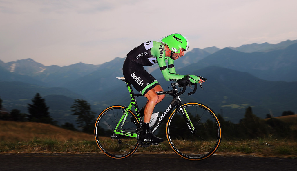 . Laurens Ten Dam of the Netherlands and the Belkin Pro Cycling team in action during stage seventeen of the 2013 Tour de France, a 32KM Individual Time Trial from Embrun to Chorges, on July 17, 2013 in Chorges, France.  (Photo by Bryn Lennon/Getty Images)