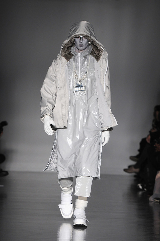 . A model walks the runway at the KTZ show during The London Collections: Men Autumn/Winter 2014 on January 8, 2014 in London, England.  (Photo by Eamonn M. McCormack/Getty Images)