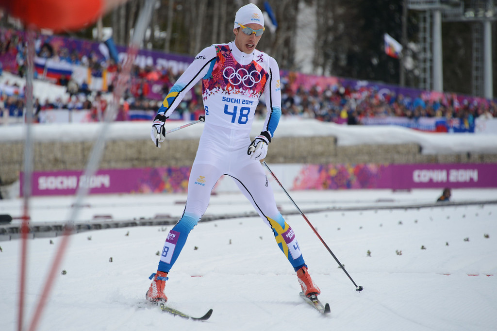 . Sweden\'s Marcus Hellner crosses the finish line in the Men\'s Cross-Country Skiing 15km Classic at the Laura Cross-Country Ski and Biathlon Center during the Sochi Winter Olympics on February 14, 2014 in Rosa Khutor near Sochi.  AFP PHOTO / KIRILL KUDRYAVTSEV/AFP/Getty Images
