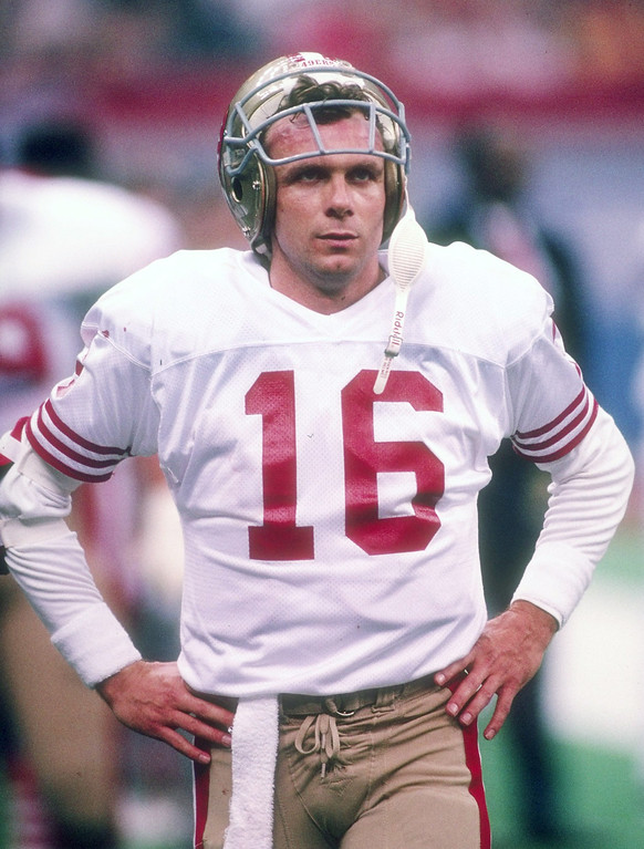 . Quarterback Joe Montana of the San Francisco 49ers looks on during Super Bowl XXIV against the Denver Broncos at the Superdome in New Orleans, Louisiana.   (Rick Stewart/Allsport)