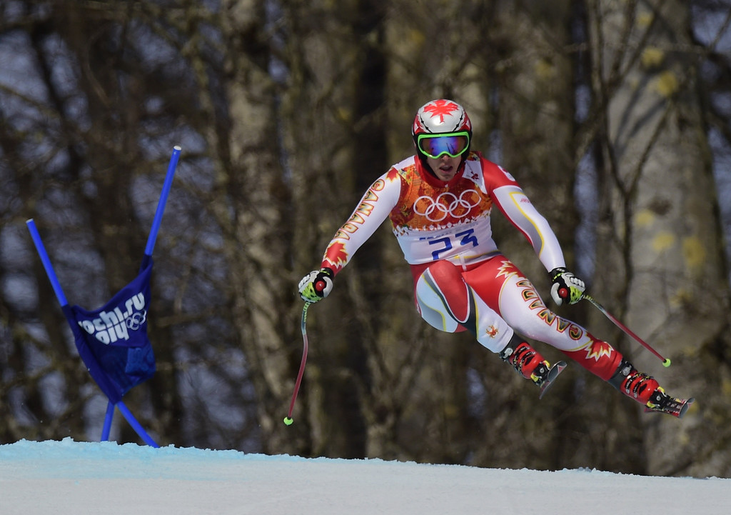 . Canada\'s Erik Guay competes during the Men\'s Alpine Skiing Super-G at the Rosa Khutor Alpine Center during the Sochi Winter Olympics on February 16, 2014.   OLIVIER MORIN/AFP/Getty Images