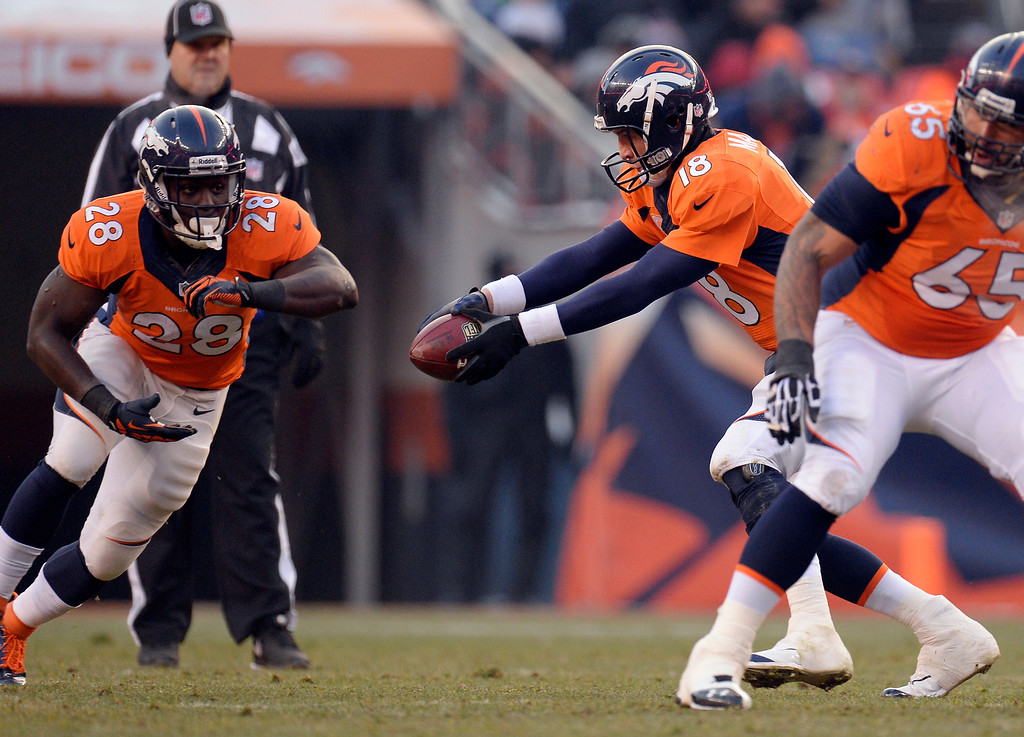. DENVER, CO - DECEMBER 12: Denver Broncos quarterback Peyton Manning (18) fakes a hand off to Denver Broncos running back Montee Ball (28) during the first quarter.  The Denver Broncos vs. the San Diego Chargers at Sports Authority Field at Mile High in Denver on December 12, 2013. (Photo by John Leyba/The Denver Post)