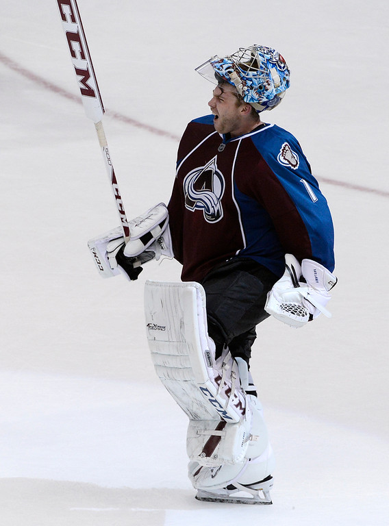 . Colorado Avalanche goalie, Semyon Varlamov,  celebrates his team\'s victory over the San Jose Sharks at the Pepsi Center Saturday afternoon, March 29, 2014. The Av\'s won 3-2 securing a playoff spot with the win. (Photo By Andy Cross / The Denver Post)