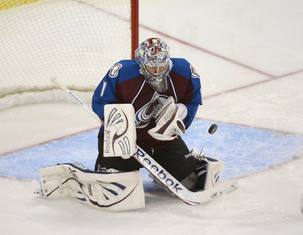 . DENVER, CO. - FEBRUARY 11: Goalie Semyon Varlamov (1) of the Colorado Avalanche makes a save during the second period against the Phoenix Coyotes February 11, 2013 at Pepsi Center.(Photo By John Leyba/The Denver Post)