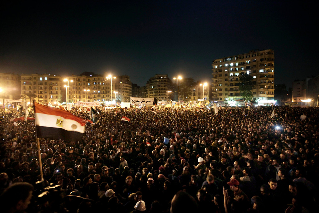 . Egyptians chant slogans during a demonstration in Tahrir Square, Cairo, Egypt, Tuesday, Nov. 27, 2012. More than 200,000 people flocked to Cairo\'s central Tahrir square on Tuesday, chanting against Egypt\'s Islamist president in a powerful show of strength by the opposition demanding Mohammed Morsi revoke edicts granting himself near autocratic powers.(AP Photo/Nariman El-Mofty)