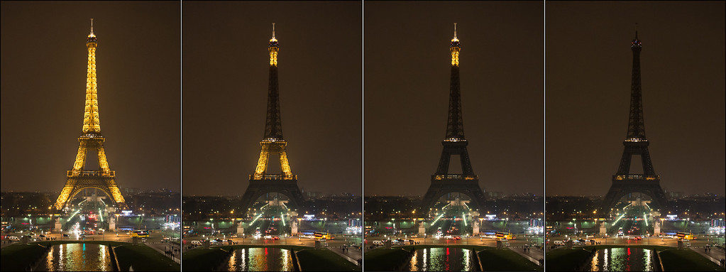 . Combination photo shows The Eiffel Tower submerging into darkness at 8:30 pm (local time) as part of the Earth Hour switch-off on March 23, 2013 in Paris. Organisers expect hundreds of millions of people across more than 150 countries to turn off their lights for 60 minutes on Saturday night -- at 8:30 pm local time -- in a symbolic show of support for the planet. While more than 150 countries joined in last year\'s event, the movement has spread even further afield this year, with Palestine, Tunisia, Suriname and Rwanda among a host of newcomers pledging to take part.  BERTRAND LANGLOIS/AFP/Getty Images