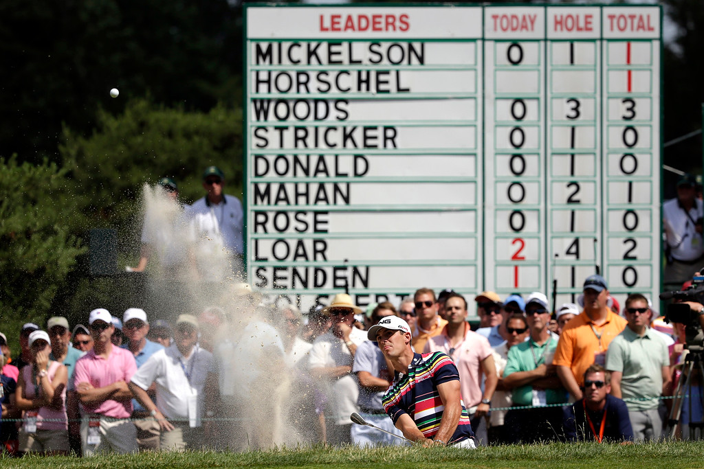 . Billy Horschel hits from a bunker on the second hole during the third round of the U.S. Open golf tournament at Merion Golf Club, Saturday, June 15, 2013, in Ardmore, Pa. (AP Photo/Gene J. Puskar)
