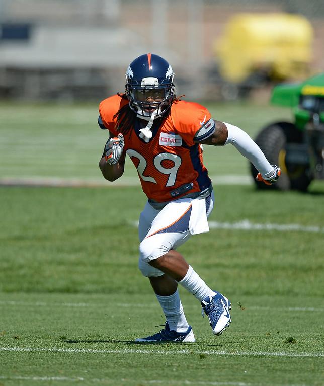 . Denver Broncos cornerback Bradley Roby (29) runs through drills  at the Denver Broncos 2014 training camp August 11, 2014 at Dove Valley. (Photo by John Leyba/The Denver Post)