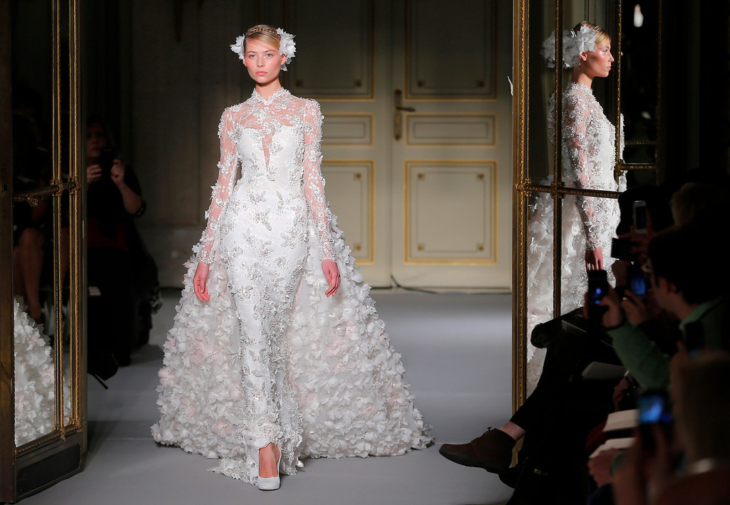 . A model wears a creation by Lebanese fashion designer Georges Hobeika as part of the Women\'s Spring/Summer 2013 Haute Couture fashion collection presented in Paris, Monday , Jan. 21 2013 (AP Photo/ Jacques Brinon)
