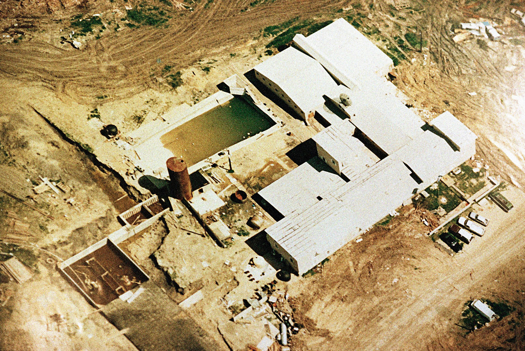 . This is a  aerial view of the Branch Davidian compound in Waco, Texas, shown at Monday\'s press briefing April 19, 1993 by FBI agent Bob Ricks. (AP Photo)