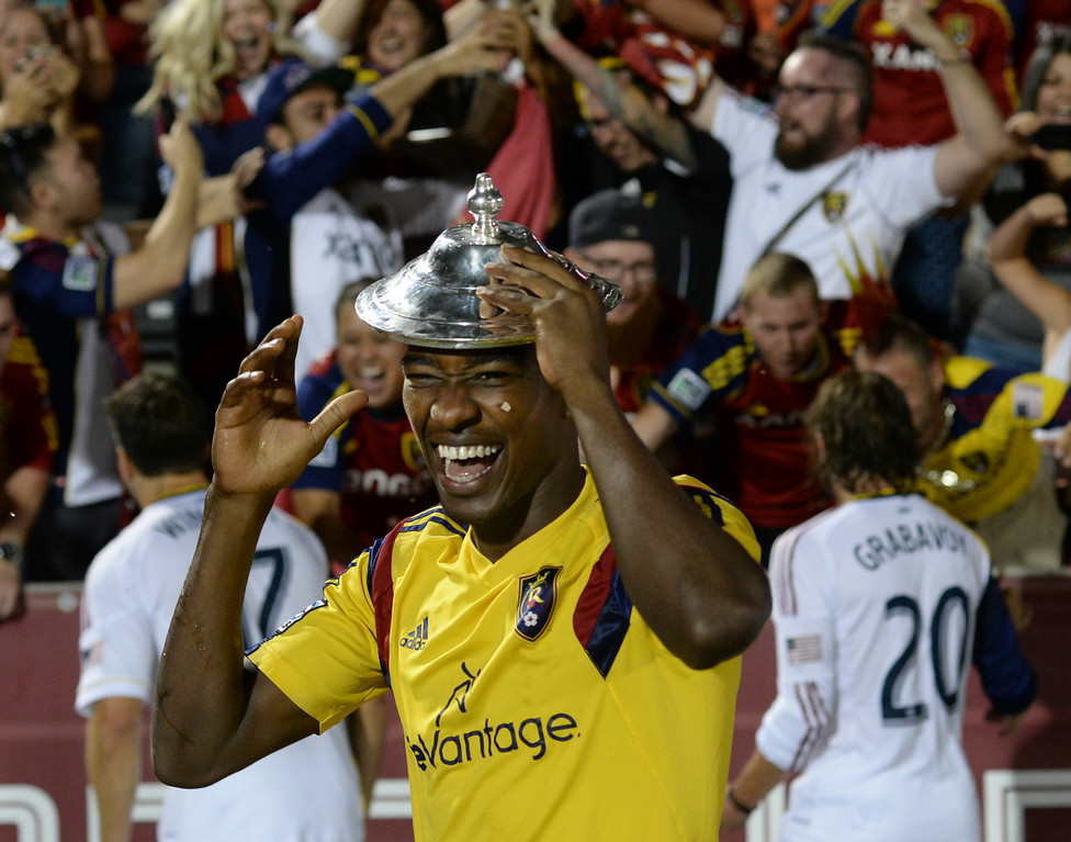 . COMMERCE CITY, CO - AUGUST 1: Real Salt Lake forward Olmes Garcia wore the Rocky Mountain Cup lid on his head as he walked off the field following the win. Real Salt Lake defeated the Colorado Rapids 1-0 at Dick\'s Sporting Goods Park Saturday night, August 1, 2014.  Photo by Karl Gehring/The Denver Post