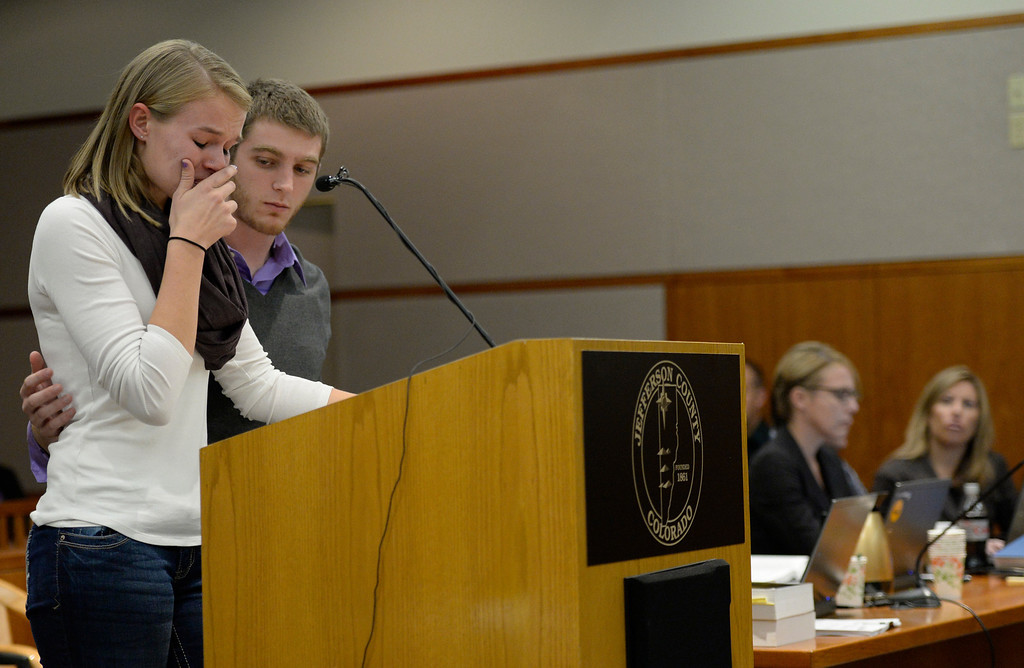. Beverly Sternberg, and Nick Pesavento, both cousins of Jessica Ridgeway, address the court during Austin Sigg\'s sentencing hearing in a Jefferson County Court, in Golden, November 18, 2013. Sigg, who pleaded guilty to the kidnapping and murder of 10-year-old Jessica Ridgeway, was in Courtroom 1-A with Chief Judge Stephen M. Munsinger presiding over the hearing. (Photo by RJ Sangosti/The Denver Post)
