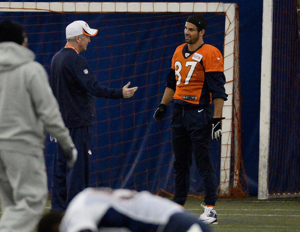 . ENGLEWOOD, CO - DECEMBER 4: Denver Broncos head coach John Fox returns to practice as he talks with Denver Broncos wide receiver Eric Decker (87) November 4, 2013 at Dove Valley.  (Photo by John Leyba/The Denver Post)