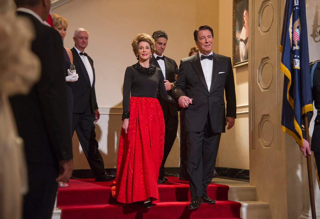 """. Jane Fonda as Nancy Reagan, center left, and Alan Rickman as Ronald Reagan in a scene from \""""Lee Daniels\' The Butler.\"""" (AP Photo/The Weinstein Company, Anne Marie Fox)"""
