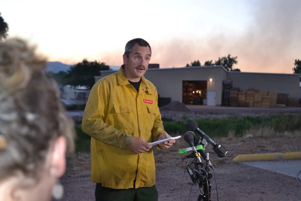 . Royal Gorge Fire information officer Gregg Goodland talks at a press conference at the Canon City Daily Record on Tuesday evening. (Daily Record Photo)