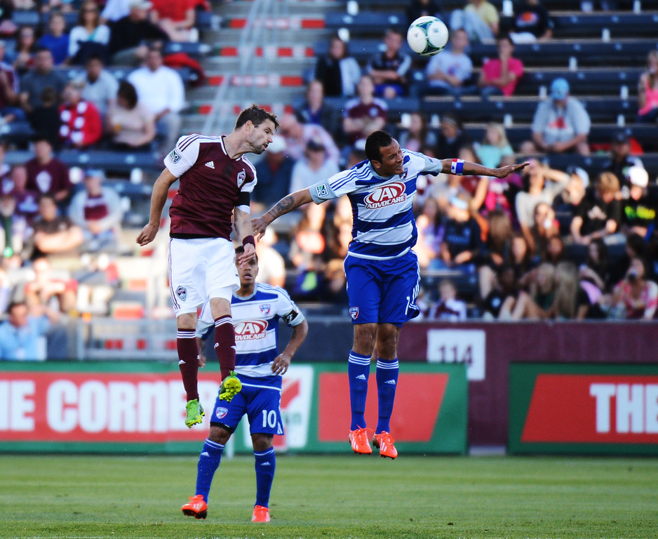 . COMMERCE CITY, CO. - June 01: Dillon Powers of Colorado Rapids (8) and Blas Perez of FC Dallas (7) are fighting for the ball in the air during first half of the game at Dick\'s Sporting Goods Park. Commerce City, Colorado. June 1, 2013. (Photo By Hyoung Chang/The Denver Post)