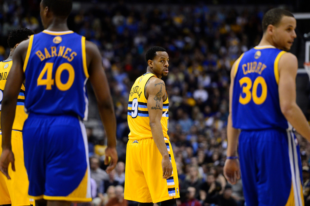 . DENVER, CO. - APRIL 23: Denver Nuggets shooting guard Andre Iguodala (9) in the third quarter. The Denver Nuggets took on the Golden State Warriors in Game 2 of the Western Conference First Round Series at the Pepsi Center in Denver, Colo. on April 23, 2013. (Photo by AAron Ontiveroz/The Denver Post)