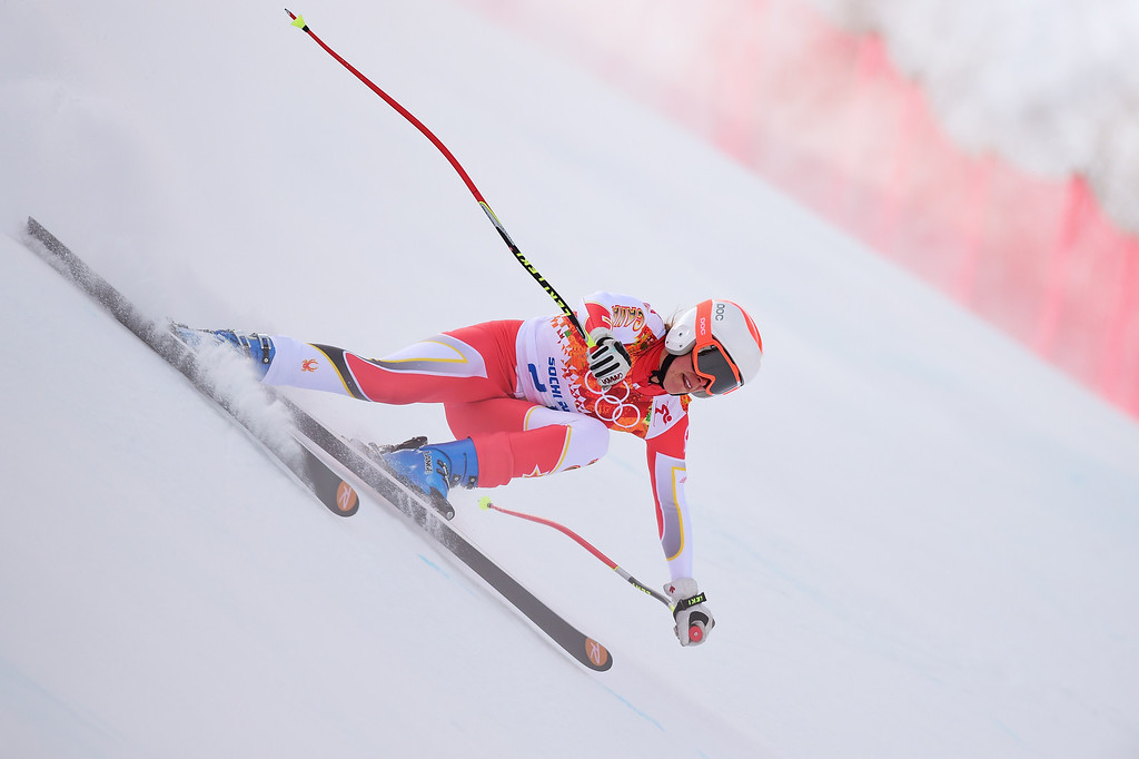 . Canada\'s Marie-Michele Gagnon competes during the Women\'s Alpine Skiing Super Combined Downhill at the Rosa Khutor Alpine Center during the Sochi Winter Olympics on February 10, 2014.    AFP PHOTO / FABRICE COFFRINI/AFP/Getty Images