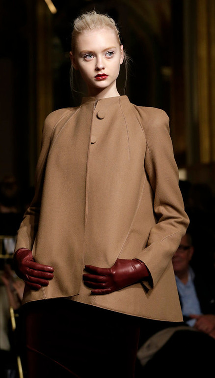 . A model pauses during the Zac Posen Fall 2013 runway show at Fashion Week at the Plaza in New York, Sunday, Feb. 10, 2013.  (AP Photo/Kathy Willens)