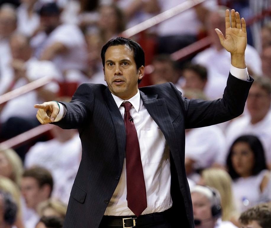 . Miami Heat head coach Erik Spoelstra gestures during the second half of Game 4 in the NBA basketball Eastern Conference finals playoff series against the Indiana Pacers, Monday, May 26, 2014, in Miami. (AP Photo/Wilfredo Lee)