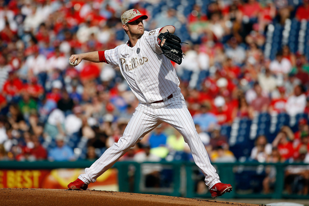 . Philadelphia Phillies\' Kyle Kendrick pitches during the first inning of a baseball game against the Colorado Rockies, Monday, May 26, 2014, in Philadelphia. (AP Photo/Matt Slocum)