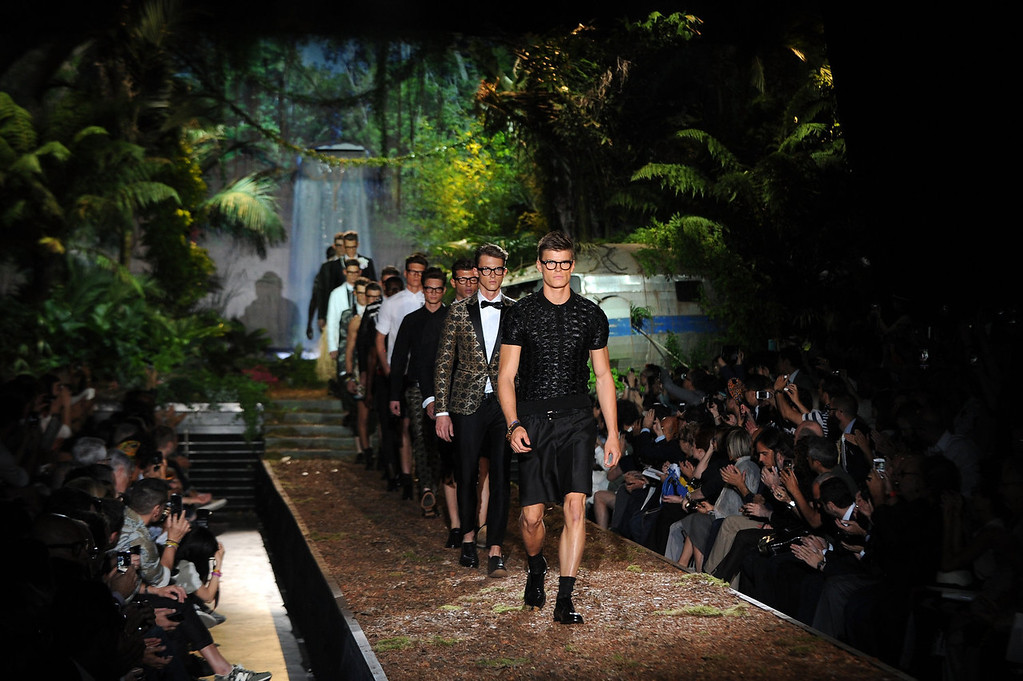 . A model walks the runway at the DSquared2 show during Milan Menswear Fashion Week Spring Summer 2014 on June 25, 2013 in Milan, Italy.  (Photo by Pier Marco Tacca/Getty Images)