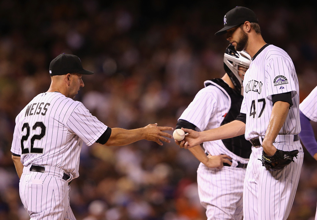 . DENVER, CO - MAY 03:  Manager Walt Weiss #22 of the Colorado Rockies removes relief pitcher Chris Martin #47 of the Colorado Rockies from the game against the New York Mets in the sixth inning at Coors Field on May 3, 2014 in Denver, Colorado.  (Photo by Doug Pensinger/Getty Images)
