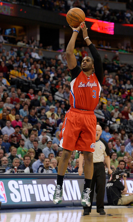 . Los Angeles Clippers guard Chris Paul (3) takes a shot during the third quarter. (Photo by John Leyba/The Denver Post)