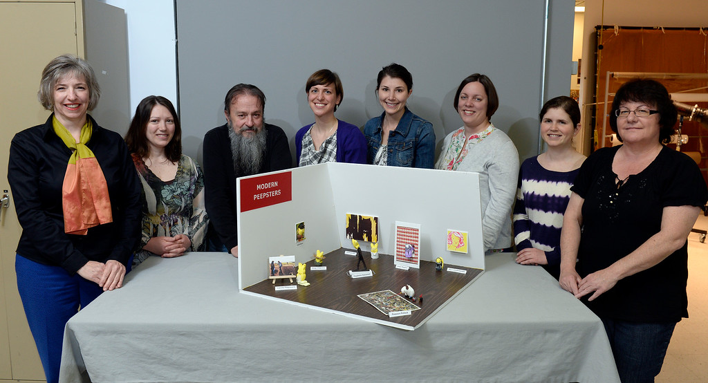 ". 1st place adult winner: Members of the Denver Art Museum\'s conservation department teamed up to create ""Modern Peepsters\""  a Peeps diorama. It is a play on the current Modern Masters exhibit at the museum. Left to right: Sarah Melching, Allison McCloskey, Steve Osborne, Julie Benner, Courtney Murray, Pam Skiles, Kate Moomaw, and Gina Laurin. on Wednesday, April 9, 2014.  (Denver Post Photo by Cyrus McCrimmon)"