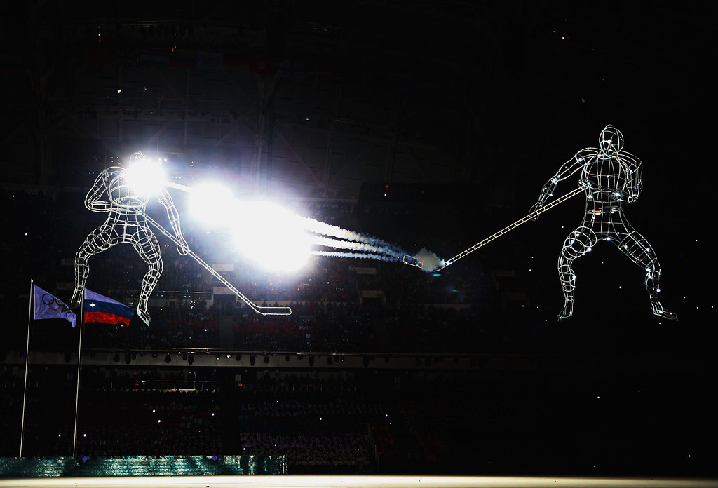 . Hockey players are depicted during the Opening Ceremony of the Sochi 2014 Winter Olympics at Fisht Olympic Stadium on February 7, 2014 in Sochi, Russia.  (Photo by Paul Gilham/Getty Images)