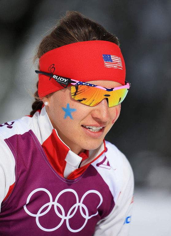 . Sophie Caldwell of the United States competes in the Women\'s Team Sprint Classic Semifinals during day 12 of the 2014 Sochi Winter Olympics at Laura Cross-country Ski & Biathlon Center on February 19, 2014 in Sochi, Russia.  (Photo by Richard Heathcote/Getty Images)